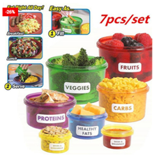 Seven Pieces Food Container Meal Portion Prep